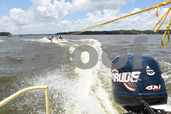 Joel Shields, 14, of Jacksonville, sit skis during the Lake Palestine Adaptive Aquafest Saturday June 25, 2016 in Bullard, Texas. Over 50 adults and children with varying physical and/or mental handicaps had the opportunity to water ski with help from Houston-based Texas Adaptive Aquatics.  (Sarah A. Miller/Tyler Morning Telegraph)