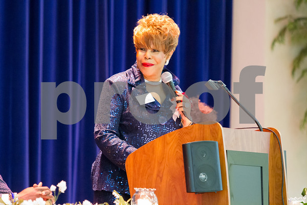 Dr. Shirley McKellar addessed the audience at the annual NAACP Freedom Fund Scholarship Banquet held at Harvey Hall in Tyler TX.  photo by John Murphy