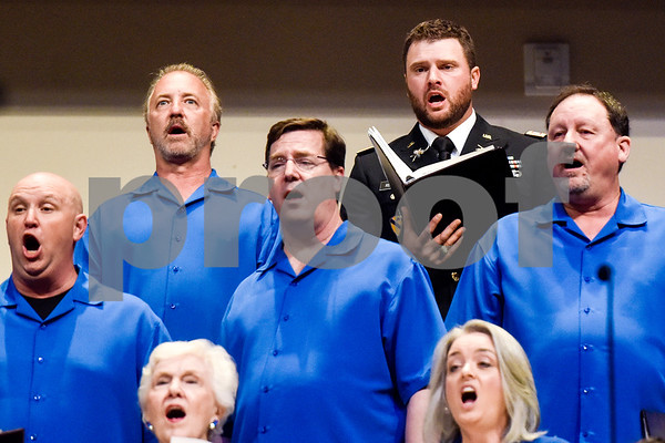 The choir sings at the I Love America program at Green Acres Baptist Church in Tyler, Texas, on Monday, June 25, 2018. The program featured patriotic tunes and worship songs. (Chelsea Purgahn/Tyler Morning Telegraph)