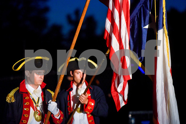 People present the colors during the family fireworks celebration at South Side Baptist Church in Tyler, Texas, on Friday, June 29, 2018. Thousands of people came out to participate in family activities, enjoy local food and watch the fireworks. (Chelsea Purgahn/Tyler Morning Telegraph)