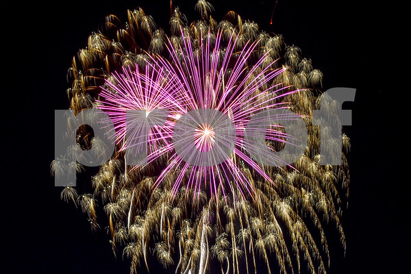 Fireworks are displayed during the family fireworks celebration at South Side Baptist Church in Tyler, Texas, on Friday, June 29, 2018. Thousands of people came out to participate in family activities, enjoy local food and watch the fireworks. (Chelsea Purgahn/Tyler Morning Telegraph)