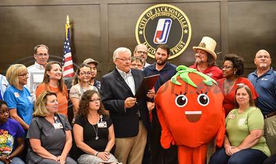 On Monday, June 3 City of Jacksonville Mayor Randy Gorham announces Jacksonville will officially be named Tomatoville for the week of Tomato Fest. The Jacksonville Chamber of Commerce puts on Tomato Fest events starting Saturday, June 1, leading up to the annual Tomato Fest on Saturday, June 8. (Jessica T. Payne/Tyler Morning Telegraph)