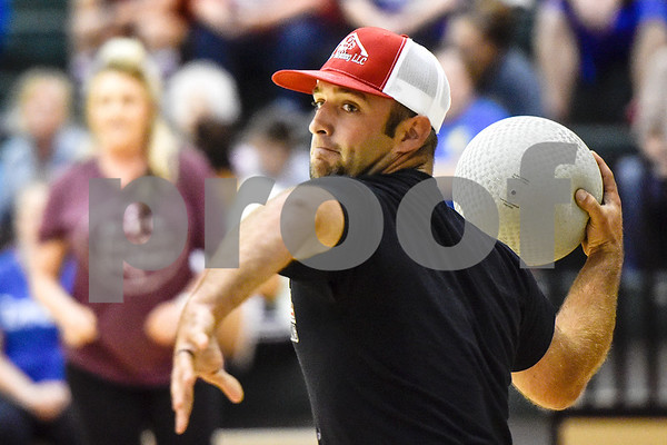 Corry Fetterman prepares to throw the ball during the third annual dodgeball challenge at John Alexander Gym in Jacksonville, Texas, on Monday, June 5, 2017. The dodgeball game kicked off a week of events for the Jacksonville Tomato Festival. (Chelsea Purgahn/Tyler Morning Telegraph)