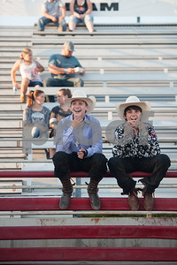 Hagen Helmcamp, 15, and Cutter Kaylor wait for the start of the XTreme Bulls night at the Gladewater Round-Up Rodeo Wednesday June 7, 2017.  (Sarah A. Miller/Tyler Morning Telegraph)