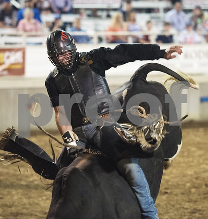 Ardie Maier rides a bull during XTreme Bulls night at the Gladewater Round-Up Rodeo Wednesday June 7, 2017.  (Sarah A. Miller/Tyler Morning Telegraph)