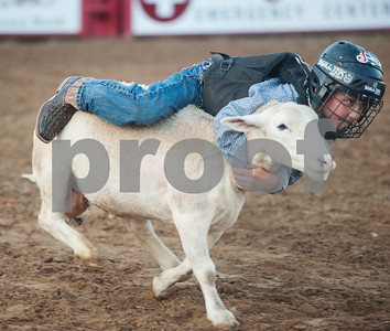 Merritt Barnes, 5, of Gilmer, rides a sheep in the Mutton Busting event held before the start of the XTreme Bulls night at the Gladewater Round-Up Rodeo Wednesday June 7, 2017.  (Sarah A. Miller/Tyler Morning Telegraph)