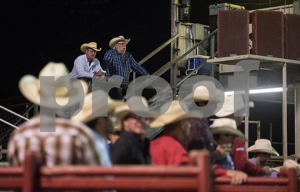 Men in cowboy hat watch during XTreme Bulls night at the Gladewater Round-Up Rodeo Wednesday June 7, 2017.  (Sarah A. Miller/Tyler Morning Telegraph)