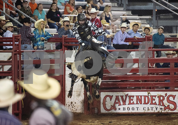 Justin Hendrix competes during XTreme Bulls night at the Gladewater Round-Up Rodeo Wednesday June 7, 2017.  (Sarah A. Miller/Tyler Morning Telegraph)