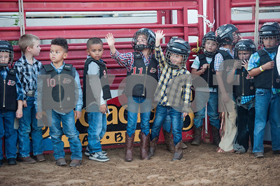 Children line up to compete in Mutton Busting before the start of the XTreme Bulls night at the Gladewater Round-Up Rodeo Wednesday June 7, 2017.  (Sarah A. Miller/Tyler Morning Telegraph)