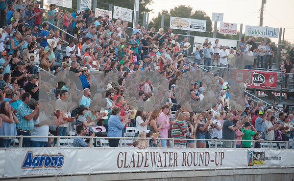 A crowd attends the XTreme Bulls night at the Gladewater Round-Up Rodeo Wednesday June 7, 2017.  (Sarah A. Miller/Tyler Morning Telegraph)