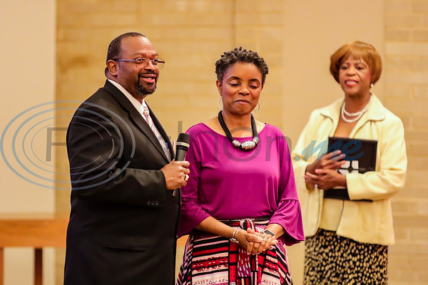 Pastor LarryJohnigan celebrates his wife First Lady Veronica Johnigan during the 2019 Juneteenth Historical Spectacular Celebration at Pleasant Groves Baptist Church in Tyler.    First Lady Johnigan was one of two First Ladies of the Year.  Photo by John Murphy