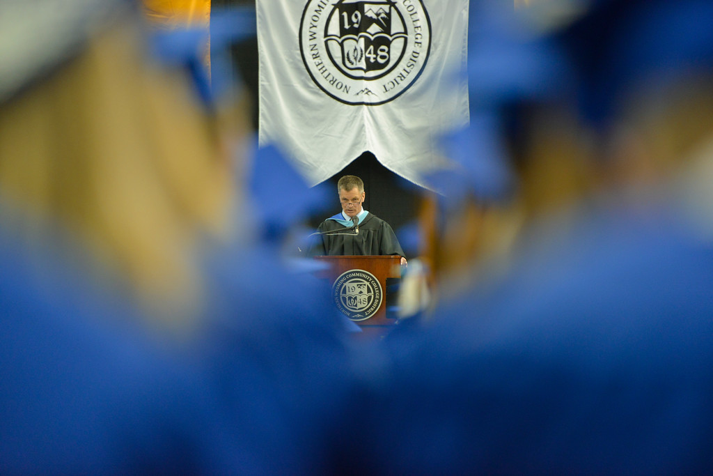 Justin Sheely | The Sheridan Press<br /> Wyoming State Treasurer Mark Gordon delivers the commencement address during the 68th Commencement Ceremony Saturday in the Bruce Hoffman Golden Dome at Sheridan College.