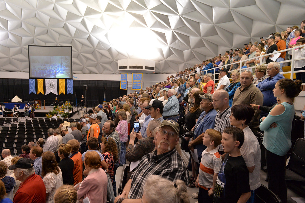 Justin Sheely | The Sheridan Press<br /> Families and friends wait inside the Bruce Hoffman Golden Dome during the 68th Commencement Ceremony Saturday at Sheridan College.