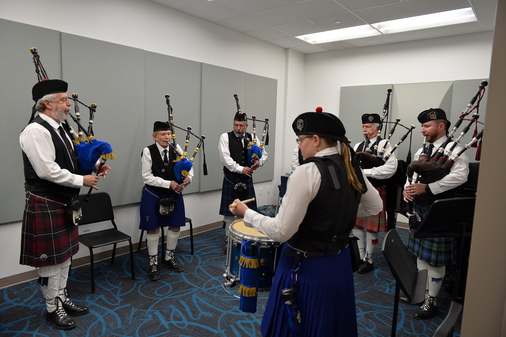 Justin Sheely | The Sheridan Press<br /> The Colorado Celtic group practices in a music room prior to the 68th Commencement Ceremony Saturday at Sheridan College.