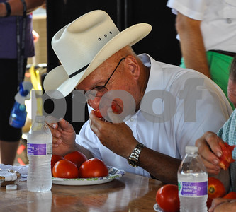 Cherokee County Sheriff James Campbell was one of many celebrities to compete in the Tomato Eating Contest during the 34th Annual Tomato Fest. The festival was held in Jacksonville on Saturday, June 9. (Jessica T. Payne/Tyler Paper)