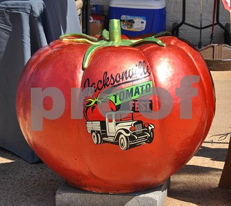 A concrete tomato is decorated to celebrate the famous Tomato Fest held in Jacksonville every June. The city is known for it's tomatoes and currently holds the Guinness World record for Largest Bowl of Salsa. (Jessica T. Payne/Tyler Paper)