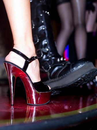 These images are from the foot fetish and shoe fashion parade with shoes from Red Stripe Clothing