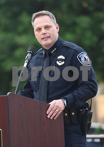 Tyler Police Chief Jimmy Toler speaks at the community vigil to encourage unity among citizens in East Texas hosted by the City of Tyler Thursday, July 14 at T.B. Butler Fountain Square in downtown Tyler.  (Sarah A. Miller/Tyler Morning Telegraph)