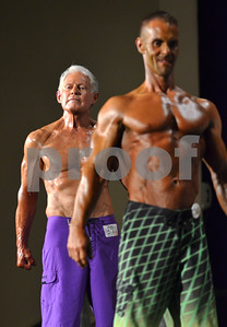 C.D. Prince, 74, poses with Greg Olivia in the Master Physique category. (Victor Texcucano)
