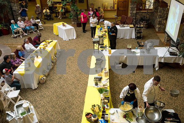 The chef showdown at Atria Willow Park in Tyler, Texas, on Thursday, July 20, 2017. Two teams faced off and cooked an appetizer, entree and dessert for judges, with all dishes including corn. (Chelsea Purgahn/Tyler Morning Telegraph)