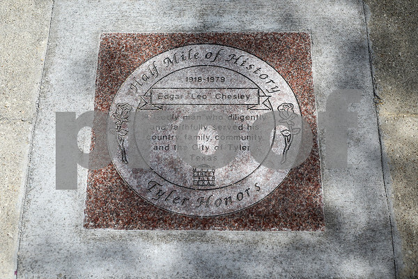 """Edgar """"Leo"""" Chesley's Half Mile of History marker is photographed after a dedication ceremony honoring him at Gallery Main Street in Tyler, Texas, on Tuesday, July 25, 2017. The Half Mile of History is a permanent, outdoor half-mile loop in downtown Tyler. The goal of the Half Mile of History program is to pay tribute to people, places, organizations and events that have contributed to the rich history of Tyler and Smith County. (Chelsea Purgahn/Tyler Morning Telegraph)"""