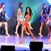 Miss Anderson, A'niyah Birdsong, center, walks across the stage with the other Miss Indiana USA contestants during the swimsuit competition at the <br /> Miss Indiana USA & Miss Indiana Teen USA pageant Monday evening held at the Paramount Theatre in Anderson.