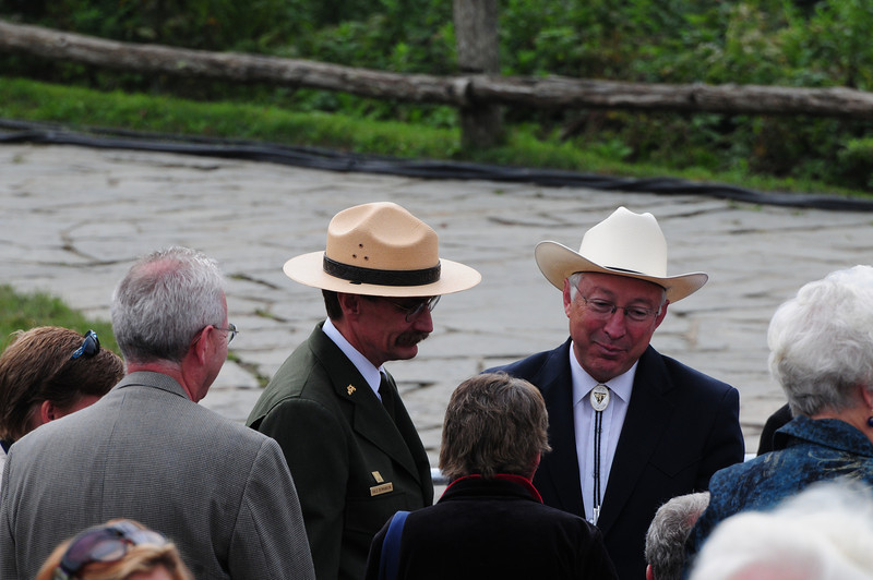Ken Salazar, Secretary of the Interior, visiting with former residents of the mountains