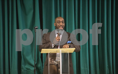 Pastor Rodney Curry addresses the crowd at the Together We Stand community event at College Hill Baptist Church in Tyler Saturday July 9, 2016.   (Sarah A. Miller/Tyler Morning Telegraph)
