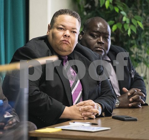 Pastor John Johnson of Flint Baptist Church and Gary Pinkerton attend the Together We Stand community event at College Hill Baptist Church in Tyler Saturday July 9, 2016. The town hall style meeting focused on law enforcement, education and race relations.   (Sarah A. Miller/Tyler Morning Telegraph)