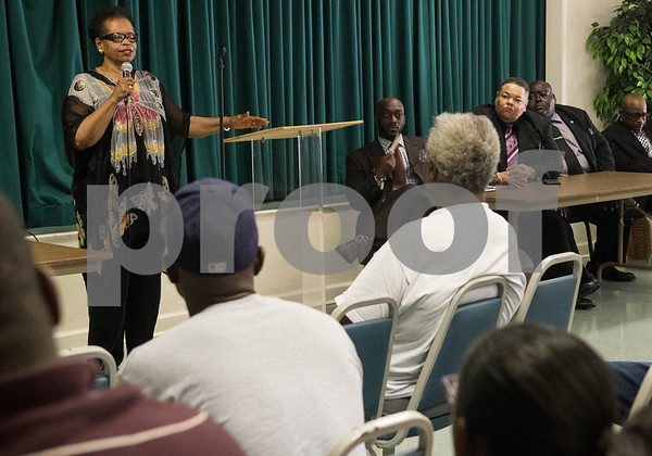Rev. Orenthia Mason speaks during the Together We Stand community event at College Hill Baptist Church in Tyler Saturday July 9, 2016. The town hall style meeting addressed race and law enforcement relations in wake of the Black Lives Matter and Blue Lives Matter movements.  (Sarah A. Miller/Tyler Morning Telegraph)