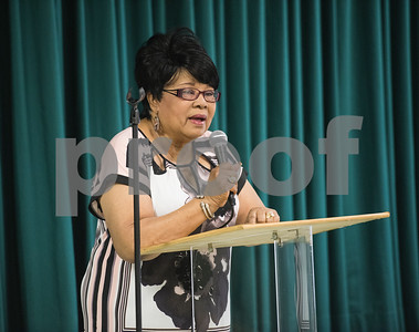 Tyler ISD Board of Trustees member Jean Washington speaks at the Together We Stand community event at College Hill Baptist Church in Tyler Saturday July 9, 2016.   (Sarah A. Miller/Tyler Morning Telegraph)