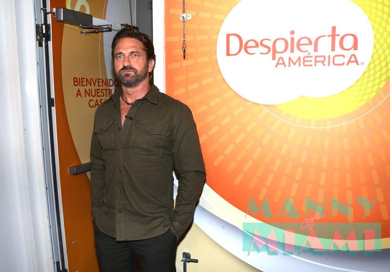 MIAMI, FL - AUGUST 22, 2019:  Gerard Butler visits Despierta America at Univision Studios in Doral, FL (Photo by Manny Hernandez)