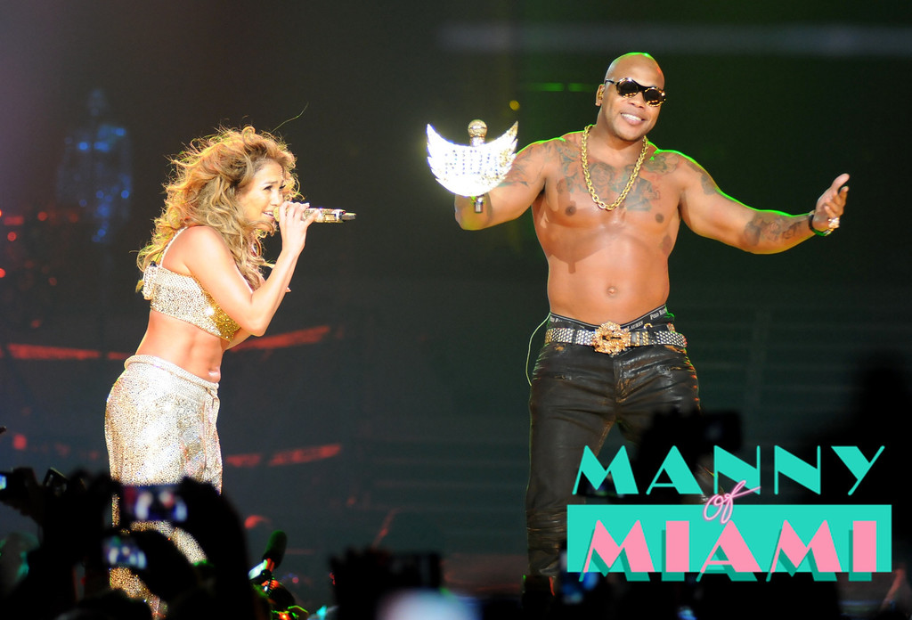 MIAMI, FL-- August 31, 2012-- Jennifer Lopez and Flo Rida  performs at American Airlines Arena as part of the Jennifer Lopez and Enrique Iglesias tour. (Photo by Manny Hernandez)