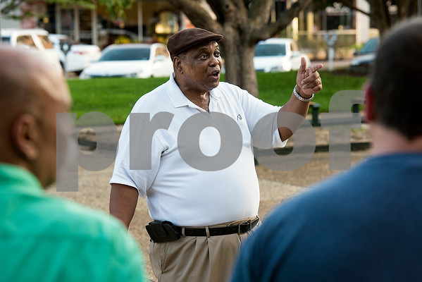 Jeff Williams speaks during the Inspiring Peace Rally at T.B. Butler Fountain Plaza in Tyler, Texas, on Thursday, Aug. 17, 2017. Around 75 people attended the rally to discuss ways the community could unify. The rally was held partially in response to the attack in Charlottesville on Aug. 12, where one person was killed and 19 more injured after a car struck a group of counter-protesters demonstrating against a white nationalist rally. (Chelsea Purgahn/Tyler Morning Telegraph)