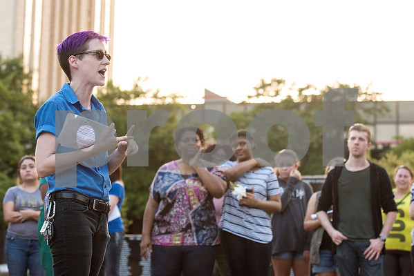 Hannah Morris speaks during the Inspiring Peace Rally at T.B. Butler Fountain Plaza in Tyler, Texas, on Thursday, Aug. 17, 2017. Around 75 people attended the rally to discuss ways the community could unify. The rally was held partially in response to the attack in Charlottesville on Aug. 12, where one person was killed and 19 more injured after a car struck a group of counter-protesters demonstrating against a white nationalist rally. (Chelsea Purgahn/Tyler Morning Telegraph)