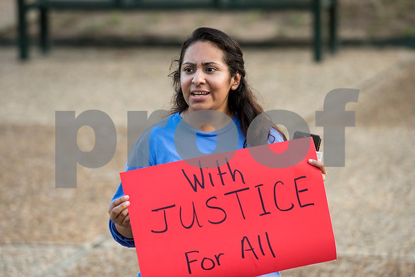 Dalila Reynoso of Justice For Our Neighbors speaks during the Inspiring Peace Rally at T.B. Butler Fountain Plaza in Tyler, Texas, on Thursday, Aug. 17, 2017. Around 75 people attended the rally to discuss ways the community could unify. The rally was held partially in response to the attack in Charlottesville on Aug. 12, where one person was killed and 19 more injured after a car struck a group of counter-protesters demonstrating against a white nationalist rally. (Chelsea Purgahn/Tyler Morning Telegraph)