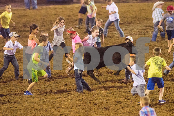 Children compete in the calf scramble competition at the 81st Gladewater Round-Up Rodeo in Gladewater, Texas, on Wednesday, June 6, 2018. The rodeo events of the evening were mutton bustin', calf scrambles and bull riding. (Chelsea Purgahn/Tyler Morning Telegraph)