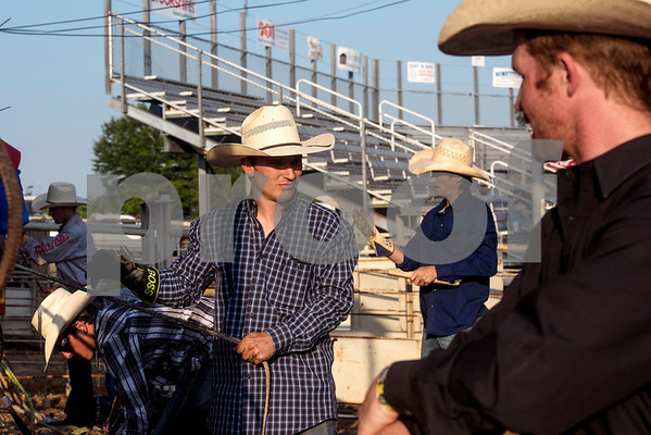 Cody Rostockyj gets ready for bull riding at the 81st Gladewater Round-Up Rodeo in Gladewater, Texas, on Wednesday, June 6, 2018. The rodeo events of the evening were mutton bustin', calf scrambles and bull riding. (Chelsea Purgahn/Tyler Morning Telegraph)
