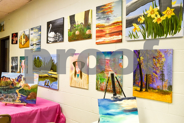 Paintings in the painting room as seen during a painting party at the Tyler Senior Center in Tyler, Texas, on Thursday, Aug. 23, 2018. (Chelsea Purgahn/Tyler Morning Telegraph)