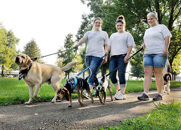 John P. Cleary | The Herald Bulletin<br /> Oliver, Daisy, and Rocky lead their masters, Lindsey McCowan, Autumn Buchanan, and Tammy McCowan, from the Alexandria Animal Hospital team around the pathways of Beulah Park during the American Cancer Society Bark For Life event Saturday.