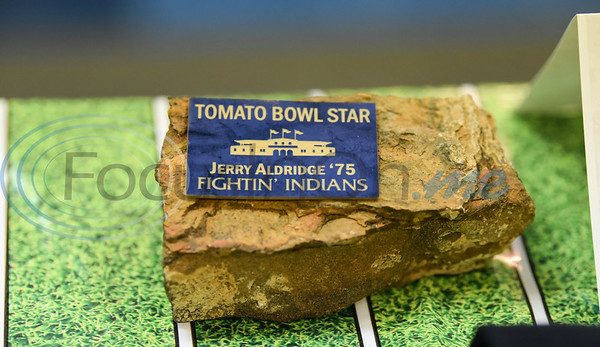 Honorees of the Evening with Our Stars event were gifted a piece of the Tomato Bowl with their name and graduation year. The event included 11 professional football players, one Major League Baseball player and two NFL coaches who started their career in Jacksonville. (Jessica T. Payne/Tyler Morning Telegraph)