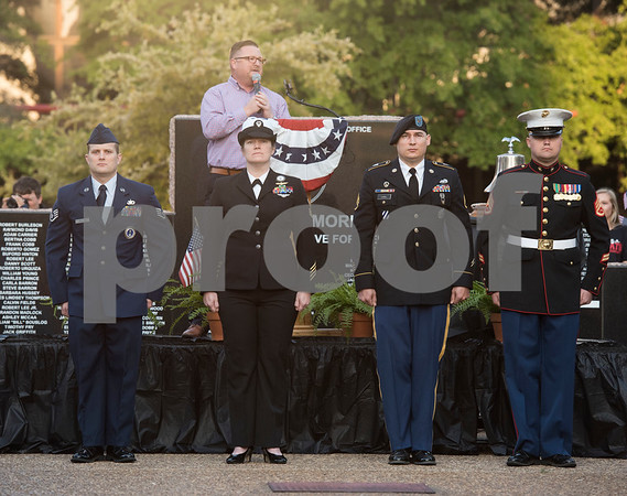 Representatives from the military branches are honored at a program at T.B. Butler Fountain Plaza in Tyler Monday Sept. 11, 2017 to commemorate the terrorist attacks on Sept. 11, 2001.   (Sarah A. Miller/Tyler Morning Telegraph)