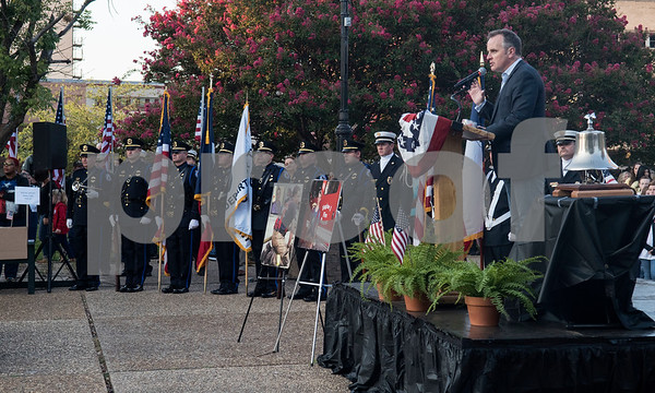 Senator Bryan Hughes speaks during a program at T.B. Butler Fountain Plaza in downtown Tyler Monday Sept. 11, 2017 to commemorate the terrorist attacks on Sept. 11, 2001.   (Sarah A. Miller/Tyler Morning Telegraph)