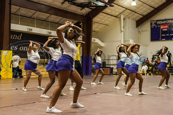Cheerleaders perform during Texas College's All Sports Pep Rally, kicking off the 2019-20 season, Friday, Sept. 13, 2019, in Gus F. Taylor Gymnasium in Tyler. (Cara Campbell/Tyler Morning Telegraph)