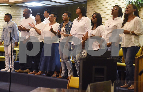 The New Life Community Church choir performs during the Peace and Praise program held at the church Wednesday night Sept. 14, 2016 in Tyler. The event was the kick-off to the annual Art of Peace Tyler festival.  (Sarah A. Miller/Tyler Morning Telegraph)