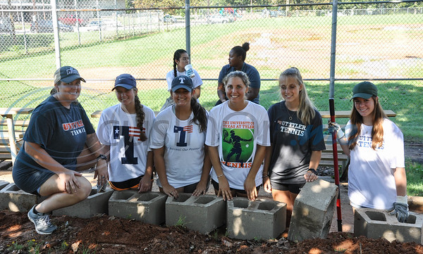 The University of Texas Tyler tennis team (from left to right) Savannah Seely, Emily Danielson, Alaska Raper, Anna Claire Gerletti, Chloe Chawner and Alina Pereiva were on hand to volunteer during Park Service Day on Saturday, September 15. The event took place at Fun Forest Park in Tyler and was hosted by the city of Tyler's initiative Keep Tyler Beautiful. (Jessica T. Payne/Tyler Paper)