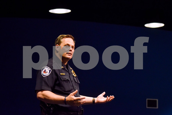 Chief of Police Jimmy Toler speaks during a Tyler Together Race Relations Forum at Tyler Public Library in Tyler, Texas, on Tuesday, Sept. 19, 2017. Ways law enforcement address mental health was discussed during the forum. (Chelsea Purgahn/Tyler Morning Telegraph)