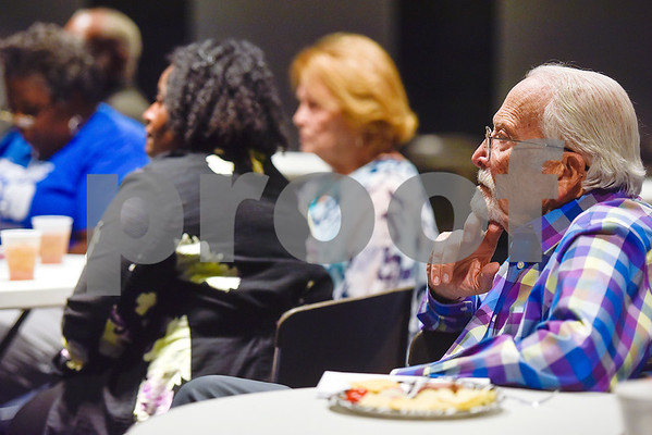 Marshall Lafser, far right, listens during a Tyler Together Race Relations Forum meeting at Tyler Public Library in Tyler, Texas, on Tuesday, Sept. 19, 2017. Ways law enforcement address mental health was discussed during the event. (Chelsea Purgahn/Tyler Morning Telegraph)