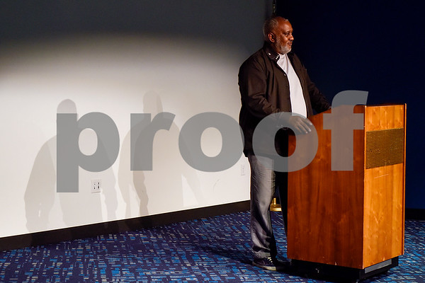 Kenneth Cobb speaks during a Tyler Together Race Relations Forum meeting at Tyler Public Library in Tyler, Texas, on Tuesday, Sept. 19, 2017. Ways law enforcement address mental health was discussed during the event. (Chelsea Purgahn/Tyler Morning Telegraph)