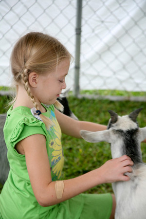 Allison Thompson pets goats
